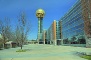 Tennessee Landmark Prints - Knoxville TN Sunsphere HDR Print by Ules Barnwell
