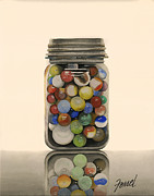 Marbles Paintings - Knuckle Down by Ferrel Cordle