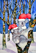 Koala Paintings - Koala Christmas by Eva Nichols