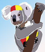 Koala Digital Art Prints - Koala Lifeguard Print by Kate Farrant