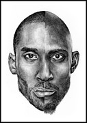 Lakers Drawings - Kobe and Kevin by Monica Sutrisna