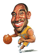 Lakers Painting Prints - Kobe Bryant Print by Art