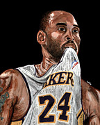 Slam Dunk Metal Prints - Kobe Bryant Biting Jersey Metal Print by Israel Torres