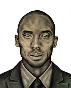 Kobe Bryant Drawings Prints - Kobe Bryant Black and White Print Print by Rabab Ali
