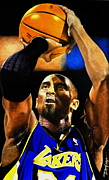 Kobe Metal Prints - Kobe Bryant Drawing Metal Print by Dan Troyer