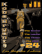 Kobe Digital Art Metal Prints - Kobe Bryant Game Over Metal Print by Israel Torres