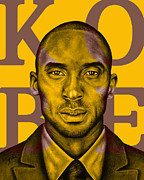 Los Angeles Lakers Mixed Media Framed Prints - Kobe Bryant Lakers Gold Framed Print by Rabab Ali