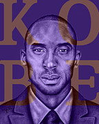 Los Angeles Lakers Mixed Media Framed Prints - Kobe Bryant Lakers Purple Framed Print by Rabab Ali