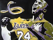Los Angeles Lakers Mixed Media Framed Prints - Kobe Framed Print by Leon Keay