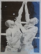 Miami Heat Drawings Prints - Kobe vs Lebron Print by Valdengrave Okumu