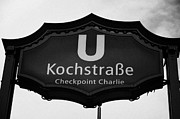 West Berlin Framed Prints - Kochstrasse U-bahn station sign checkpoint charlie Berlin Germany Framed Print by Joe Fox