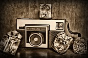 Snapshot Posters - Kodak Instamatic X15 in black and white Poster by Paul Ward