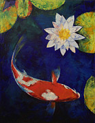 Koi Painting Posters - Kohaku Koi and Water Lily Poster by Michael Creese