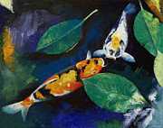 Banyan Prints - Koi and Banyan Leaves Print by Michael Creese