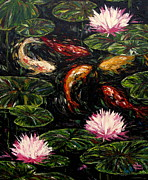 Vickie Fears Prints - Koi and Lotus Blossoms Print by Vickie Fears
