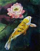 Koi Fish Painting Posters - Koi and Lotus Flower Poster by Michael Creese