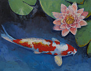 Koi Painting Posters - Koi and Water Lily Poster by Michael Creese