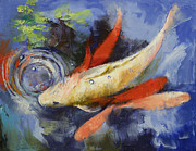 Koi Painting Posters - Koi and Water Ripples Poster by Michael Creese