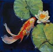 White Waterlily Paintings - Koi and White Lily by Michael Creese