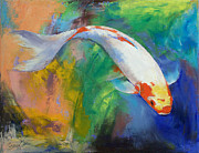 Collectible Art Paintings - Koi Art Pirouette by Michael Creese