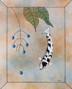 Sakana Framed Prints - Koi Bekko Blue painting Framed Print by Gordon Lavender