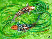 Fish Underwater Paintings - Koi Carps by Zaira Dzhaubaeva