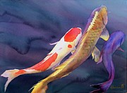 Original Watercolor Paintings - Koi Dance by Robert Hooper