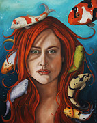 Exotic Fish Paintings - Koi deeper tone by Leah Saulnier The Painting Maniac