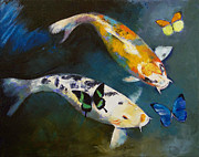 Koi Painting Posters - Koi Fish and Butterflies Poster by Michael Creese