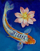 Koi Painting Posters - Koi Fish and Lotus Poster by Michael Creese