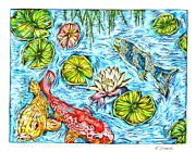 Karen Sirard - Koi Fish in a Pond