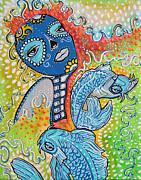 Koi Fish Sugar Skull Print by Laura Barbosa