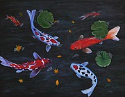 Koi Fish Painting Posters - Koi Fishes original acrylic painting Poster by Georgeta  Blanaru