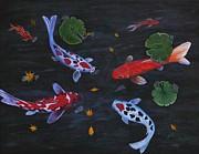Koi Fishes Original Acrylic Painting Print by Georgeta  Blanaru