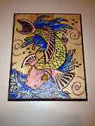 Dream Pyrography Framed Prints - Koi Flight Framed Print by Brandon Baker ArtZen