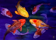 Watercolor  Posters - Koi Friends Poster by Robert Hooper