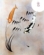 Mono Mixed Media Prints - Koi Hikarimono Utsurimono Chinese good luck Print by Gordon Lavender