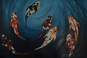 Koi Painting Posters - Koi Poster by Holly Donohoe
