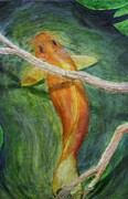 Floral Drawings Originals - Koi by Jerry Bunnell