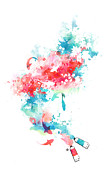 Fuchsia Prints - Koi Life In Water Color Print by Budi Satria Kwan