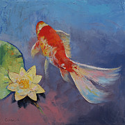 Hawaiian Pond Prints - Koi on Blue and Mauve Print by Michael Creese