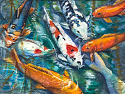 Graceful Painting Posters - Koi on Rice Paper Poster by Patricia Allingham Carlson