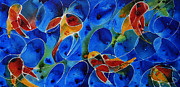 Koi Painting Posters - Koi Pond 2 - Liquid Fish Love Art Poster by Sharon Cummings