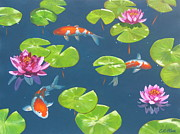 Lilly Pond Paintings - Koi Pond by Elisabeth Olver