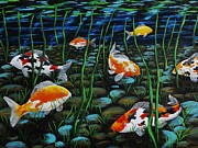 Koi Painting Posters - Koi Pond Poster by Katherine Young-Beck