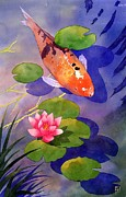Chinese Watercolor Posters - Koi Pond Poster by Robert Hooper