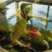 Golden Fish Art - Koi Pond with Mossy Heron by Michelle Calkins