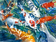 Fish Pond Prints - Koi Sparkle Print by Patricia Allingham Carlson
