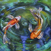 Water Dragon Painting Framed Prints - Koi Swirl Framed Print by Donna Tuten