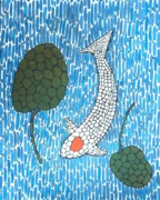 Spot Painting Framed Prints - Koi Tancho Mosaic painting Framed Print by Gordon Lavender